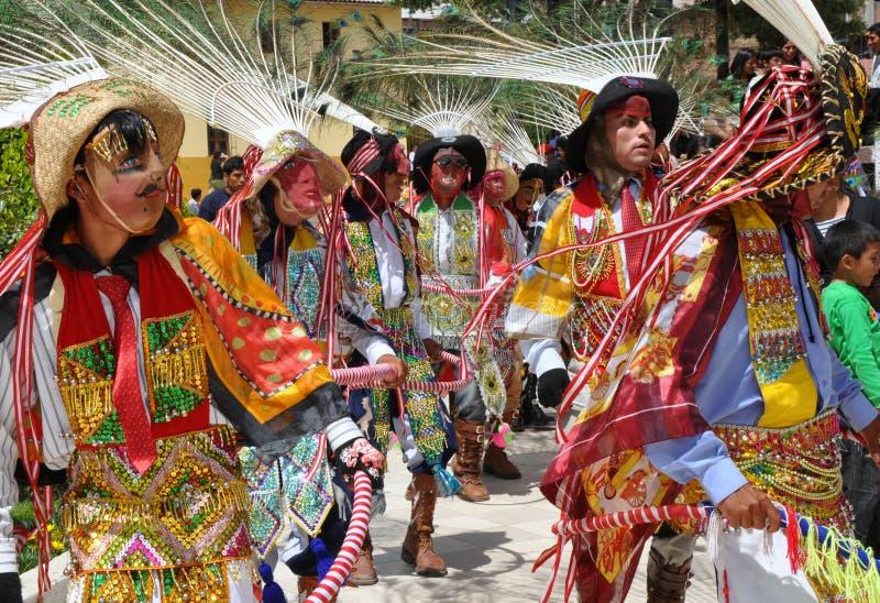 Dançarinos peruanos coloridos fotografia de stock royalty free