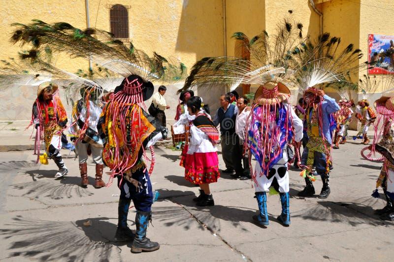 Dançarinos peruanos festivos fotos de stock royalty free