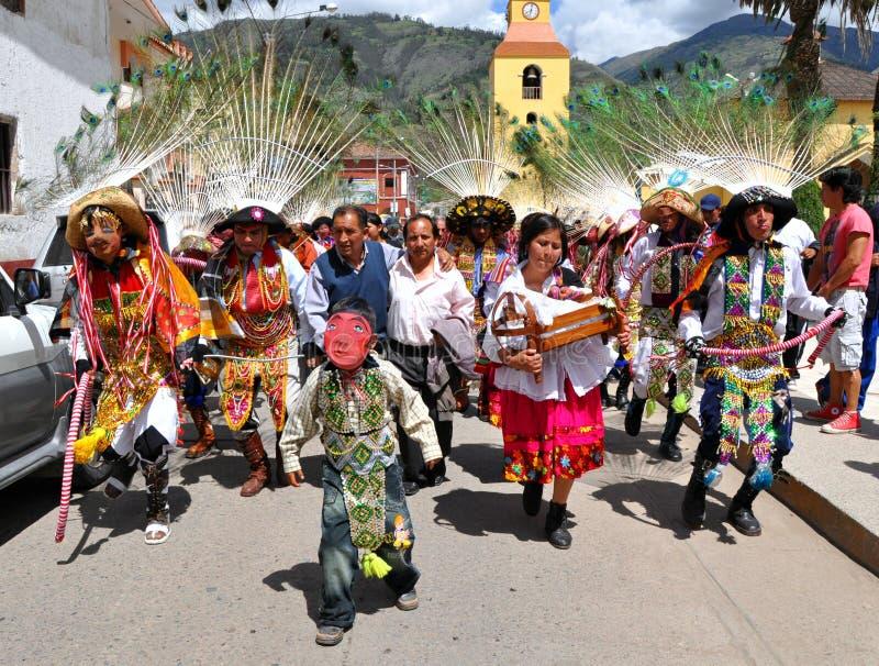 Dançarinos peruanos felizes foto de stock royalty free
