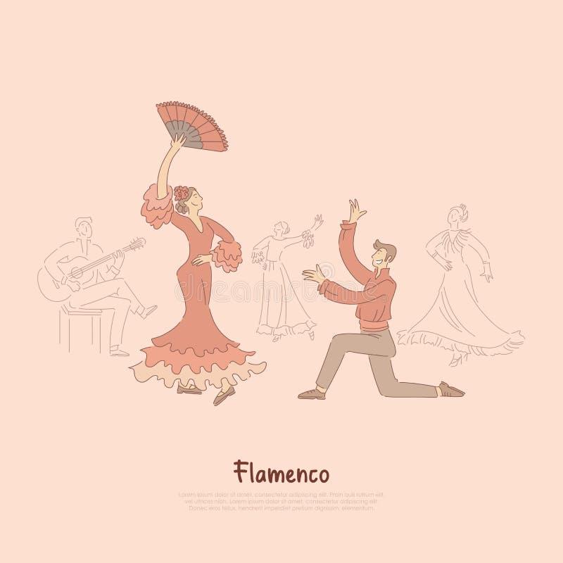 Dançarinos profissionais, mulher elegante no vestido vermelho que executa o flamenco, dança espanhola tradicional, mostra de entr ilustração royalty free
