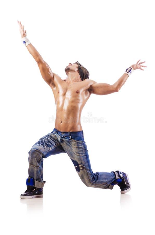 Danças da dança do dançarino isoladas fotografia de stock royalty free