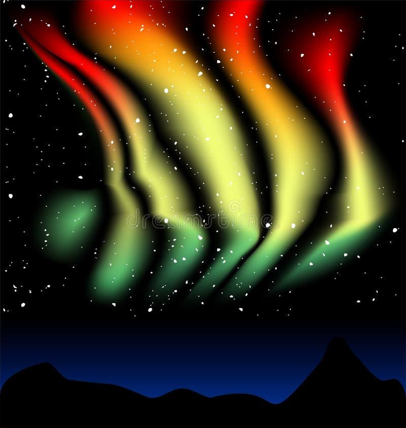 Danças de Aurora Borealis ilustração royalty free