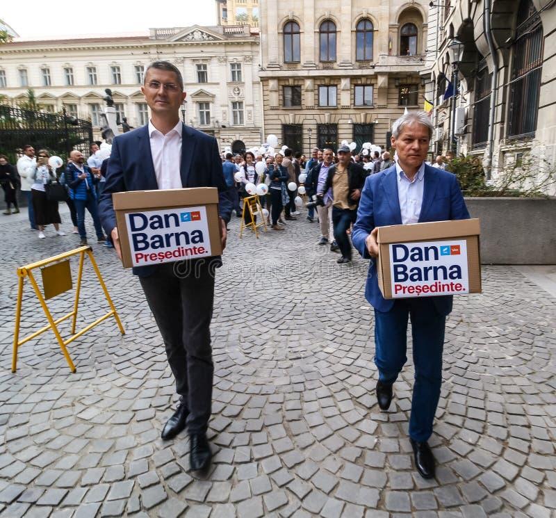 Dan Barna - race for the presidential mandate - Romanian politics. Bucharest, Romania - September 20, 2019: Dan Barna L, Co-Chairman of the 2020 USR-PLUS stock photography