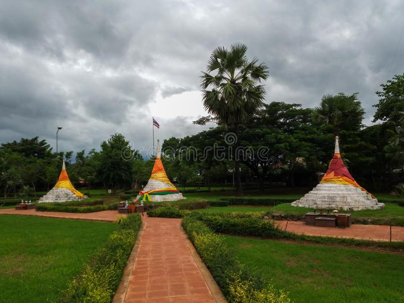 Dan Chedi Sam Ong or Three Pagodas Pass is a border pass to the Union of Myanmar at Sanghklaburi district, Kanchanaburi province stock photo