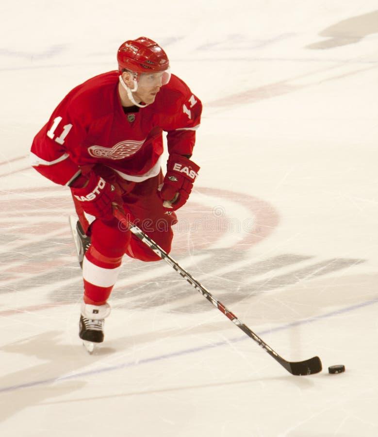 Dan Cleary dos Detroit Red Wings toma sua volta no tiroteio foto de stock royalty free
