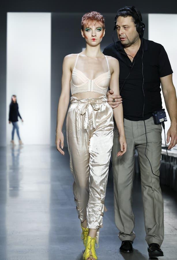 Dan Liu SS19. New York, NY, USA - September 11, 2018: A model walks runway rehearsal for Dan Liu Spring/Summer 2019 collection during New York Fashion Week at stock images