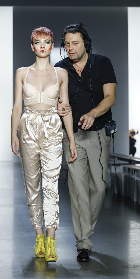 Dan Liu SS19. New York, NY, USA - September 11, 2018: A model walks runway rehearsal for Dan Liu Spring/Summer 2019 collection during New York Fashion Week at royalty free stock images