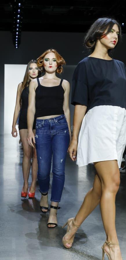 Dan Liu SS19. New York, NY, USA - September 11, 2018: Models walk runway rehearsal for Dan Liu Spring/Summer 2019 collection during New York Fashion Week at stock photos