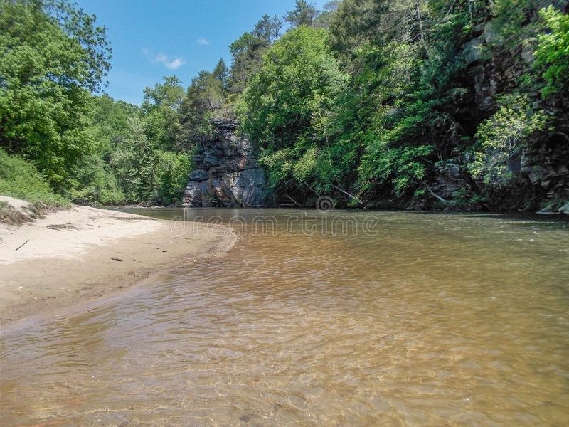 Dan River Bend in North Carolina. A bend in a section of the Dan River near Danbury, North Carolina royalty free stock image