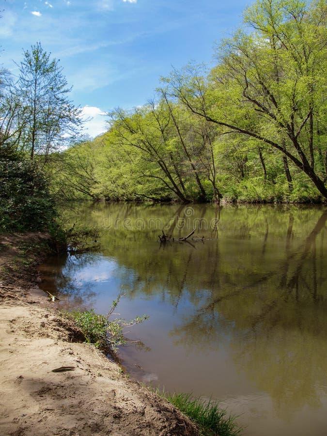 Dan River Calm Water Reflections lizenzfreies stockbild