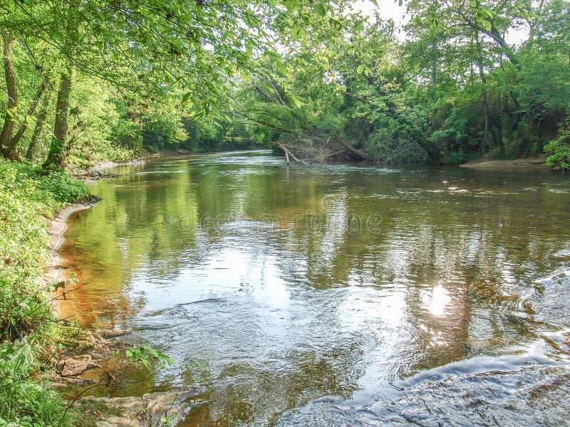 Dan River in Danbury, North Carolina. A calm section of the Dan River near Danbury, North Carolina royalty free stock photography