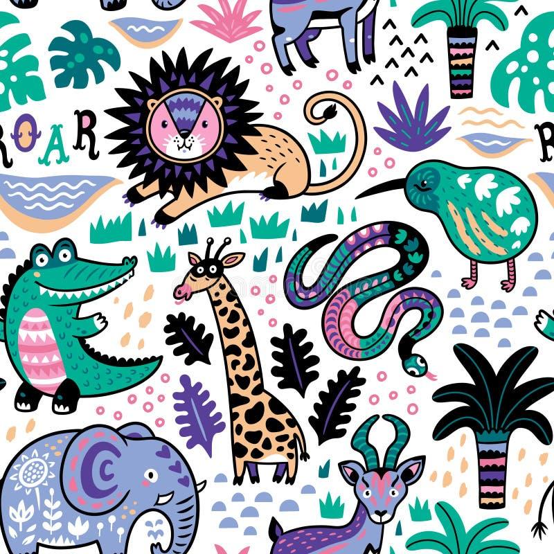 Dana den sömlösa modellen för safari med djungeldjur i vektor royaltyfri illustrationer
