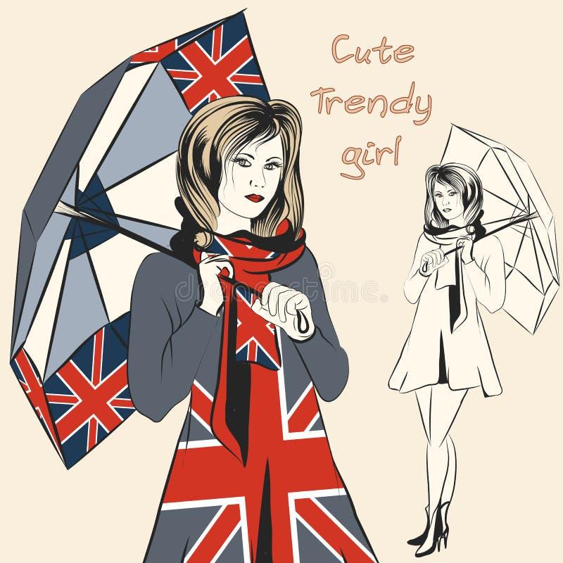 Dana det moderiktiga flickahållparaplyet med det brittiska flaggatrycket stock illustrationer