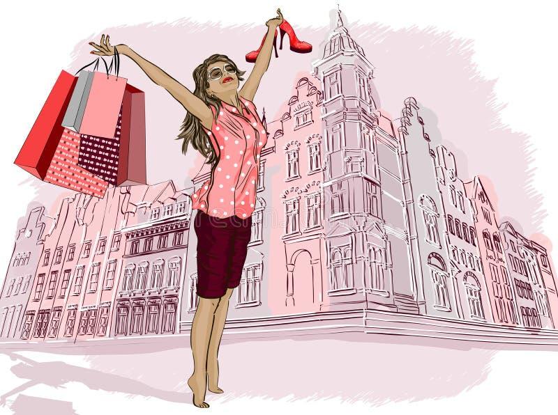 Dana flickan med shoppingpåsar på en stad-backgrou vektor illustrationer