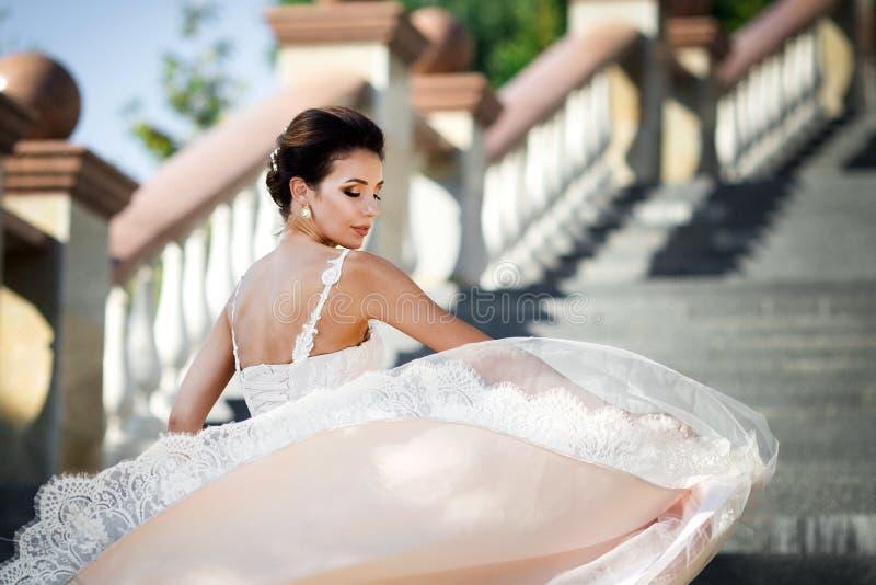 Dana fotoet av den härliga kvinnan med mörkt hår i lyxigt posera för bröllopsklänning som är utomhus- arkivbilder