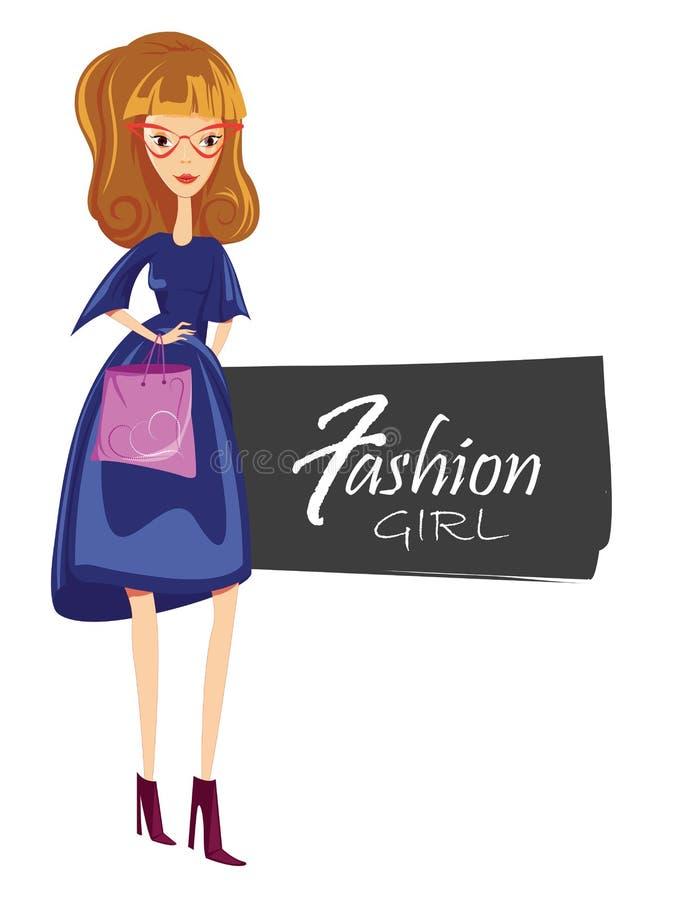 Dana kvinnan i solglasögon, den härliga stilfulla modellen som poserar, flickaståenden, tecken för modeflickatecknad film vektor illustrationer