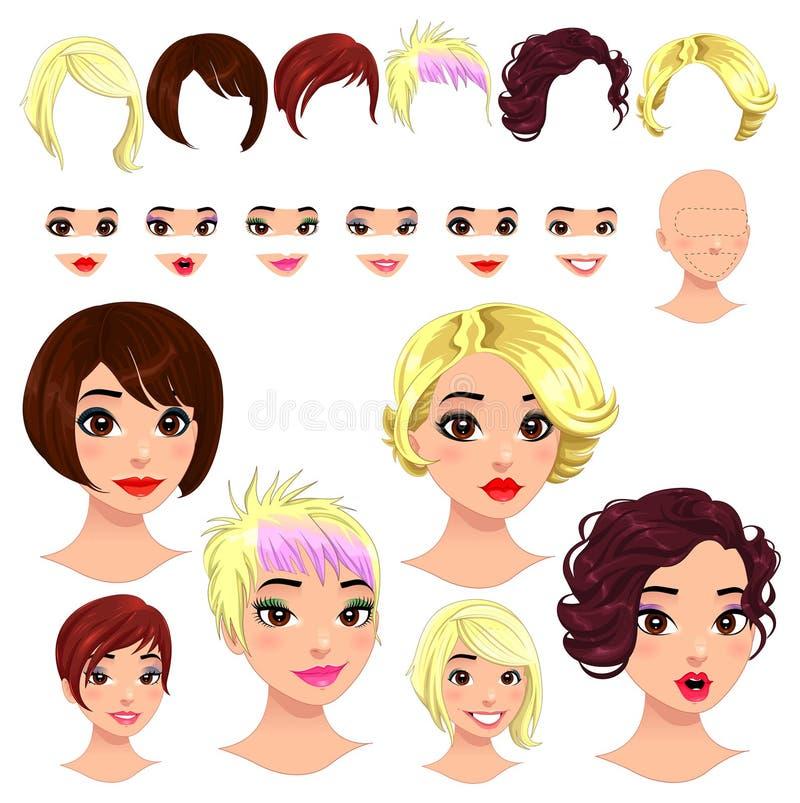 Dana kvinnliga avatars. vektor illustrationer