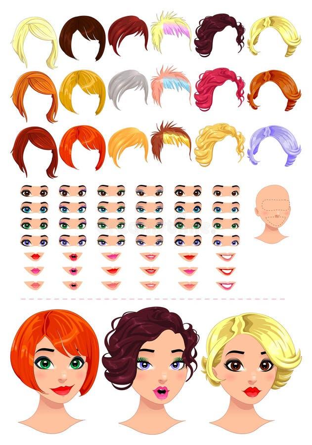 Dana kvinnliga avatars. stock illustrationer