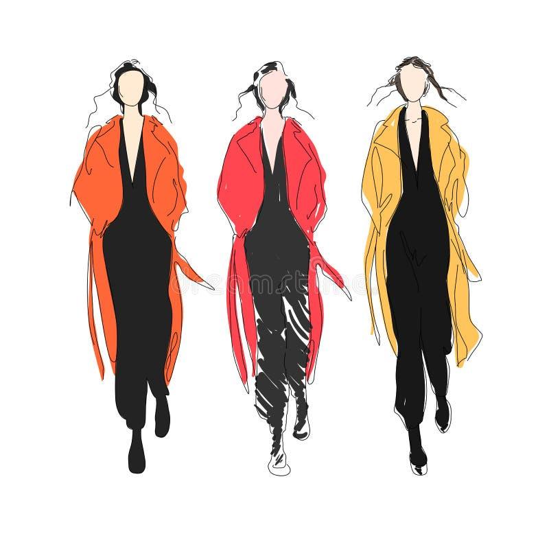 Dana modellerar på landningsbana royaltyfri illustrationer
