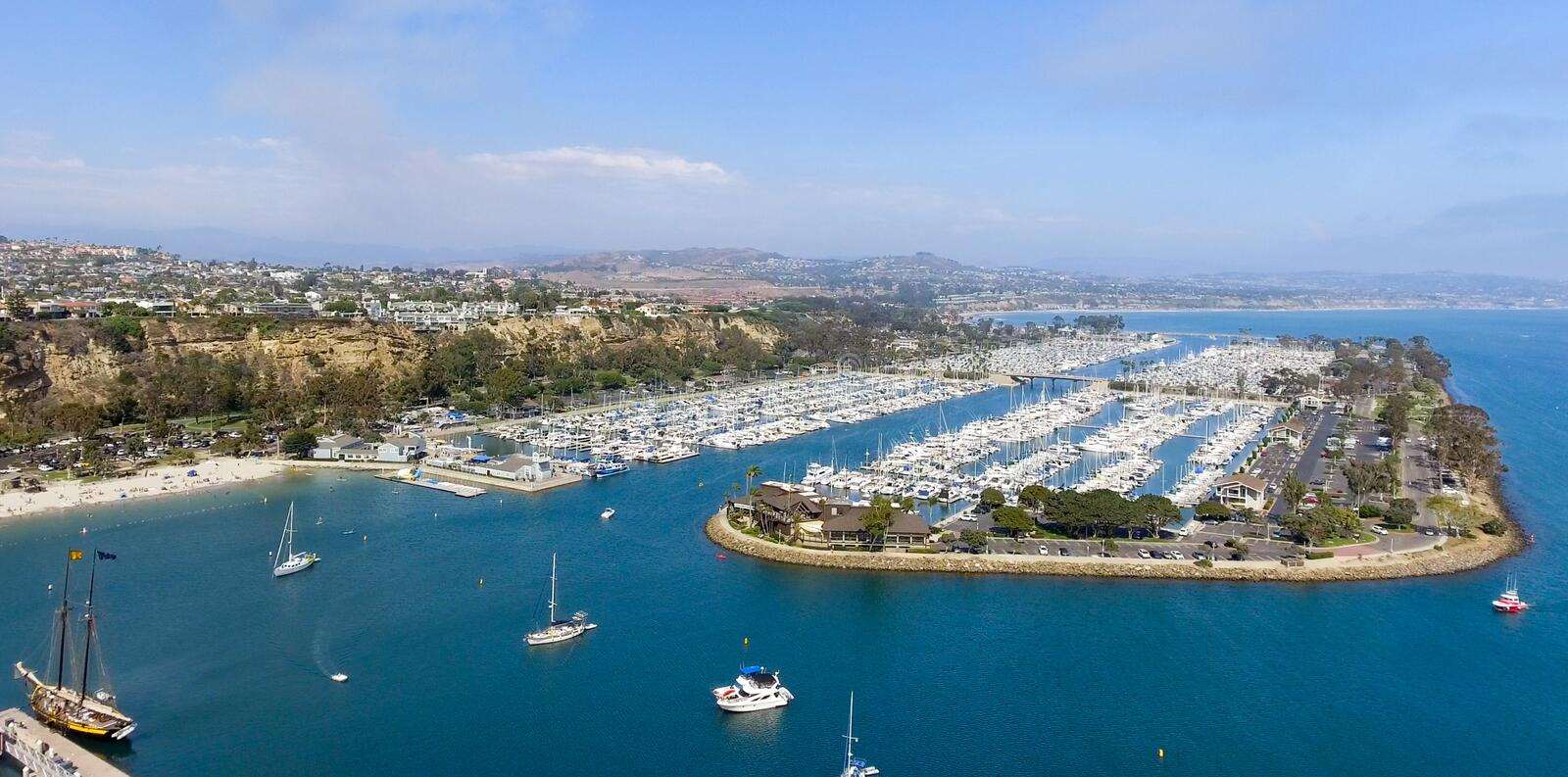 Dana Point, California. Panoramic aerial view royalty free stock images