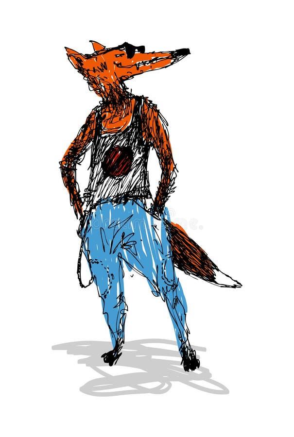 Dana räven, i en T-tröja och jeans Göra perfekt för modepublikationer eller andra publikationer royaltyfri illustrationer