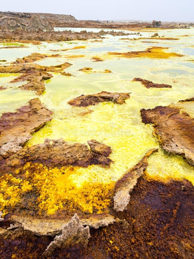 Danakil消沉的湖Dallol, Ehtiopia 免版税图库摄影