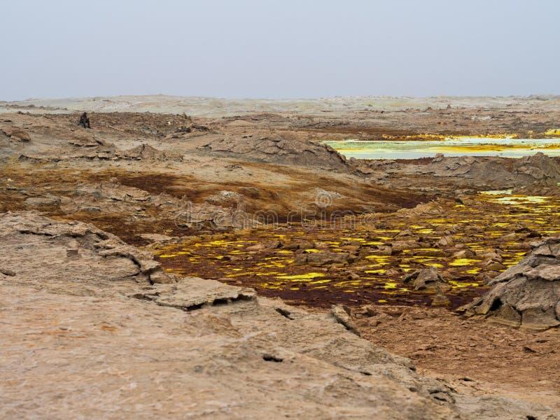 Danakil消沉的湖Dallol, Ehtiopia 库存图片