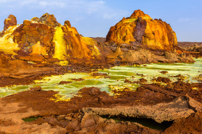 Danakil消沉风景,埃塞俄比亚 免版税库存图片