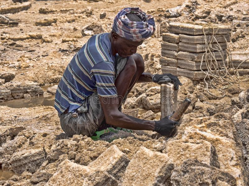 DANAKIL DEPRESSIE, ETHIOPIË, 29 APRIL 2019, is Afars waarschijnlijk de taaiste mensen in de wereld In de Danakil-depressie stock fotografie