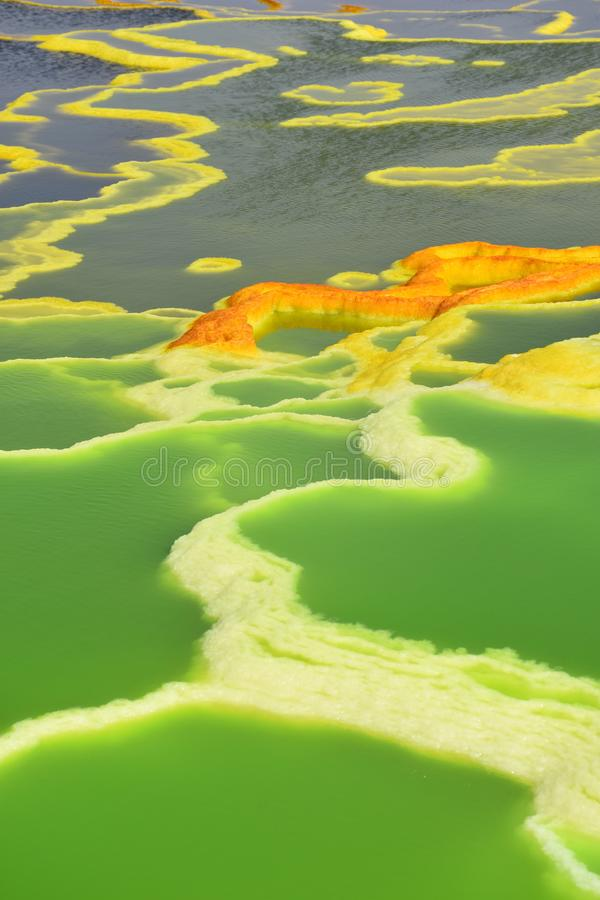 Danakil depression Ethiopia. Green, springs, hot, ethiopia, adventure, travel, yellow, patterns, water royalty free stock photography