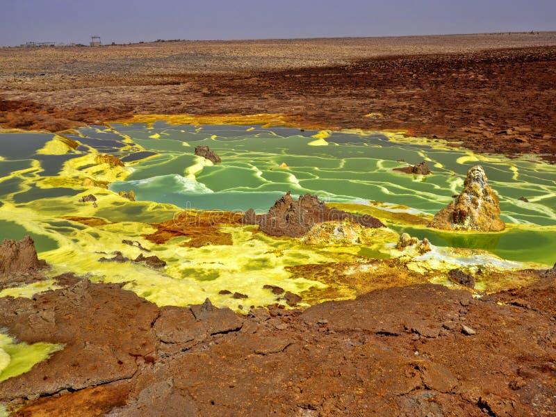 Danakils fördjupning dör incredibly ljusa färger som gör saltar kristaller ethiopia arkivfoton