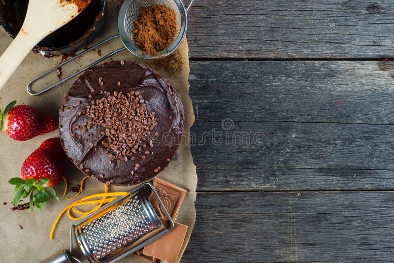 Danandechokladkaka, sikt från över royaltyfri bild