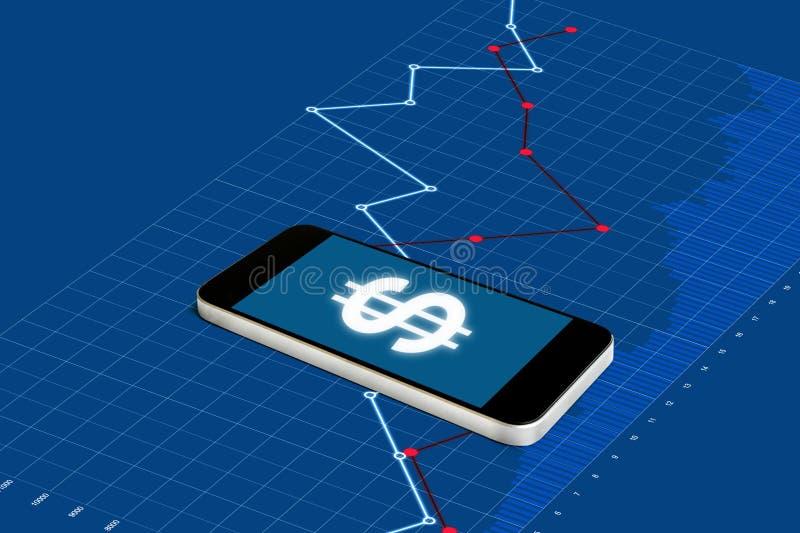 Danandepengar på mobiltelefonen, digital valuta och elektroniskt online-bankrörelsebegrepp Smart telefon för mobil med valutateck royaltyfri bild