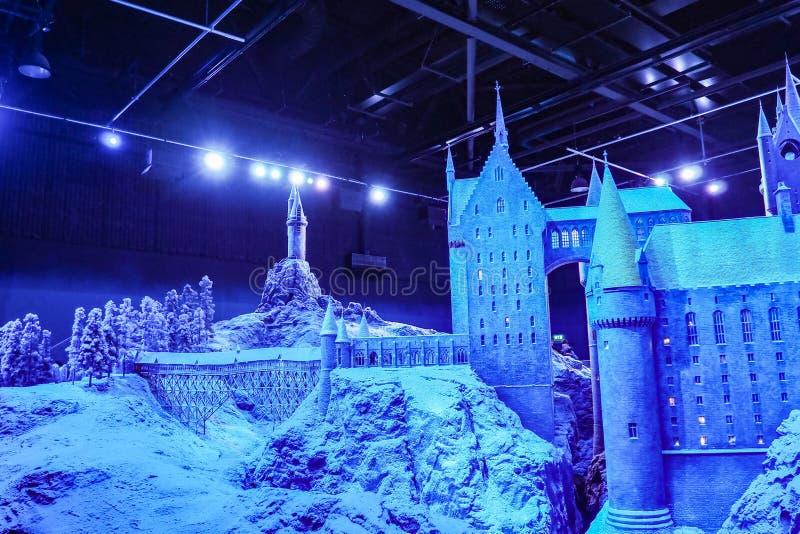 Danandet av Harry Potter är en offentlig dragning i Leavesden, London, UK som bevarar och ställer ut de iconic stöttorna arkivfoto