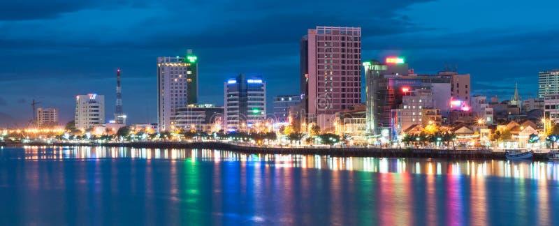 Danang市夜间视图 库存照片