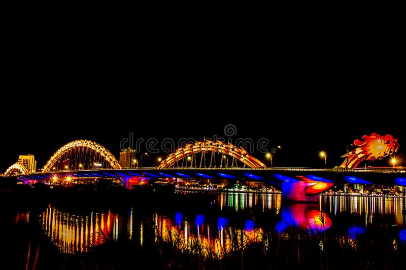 Danang, Beautiful And Lighting At Night in, Danang, Vietnam stock image