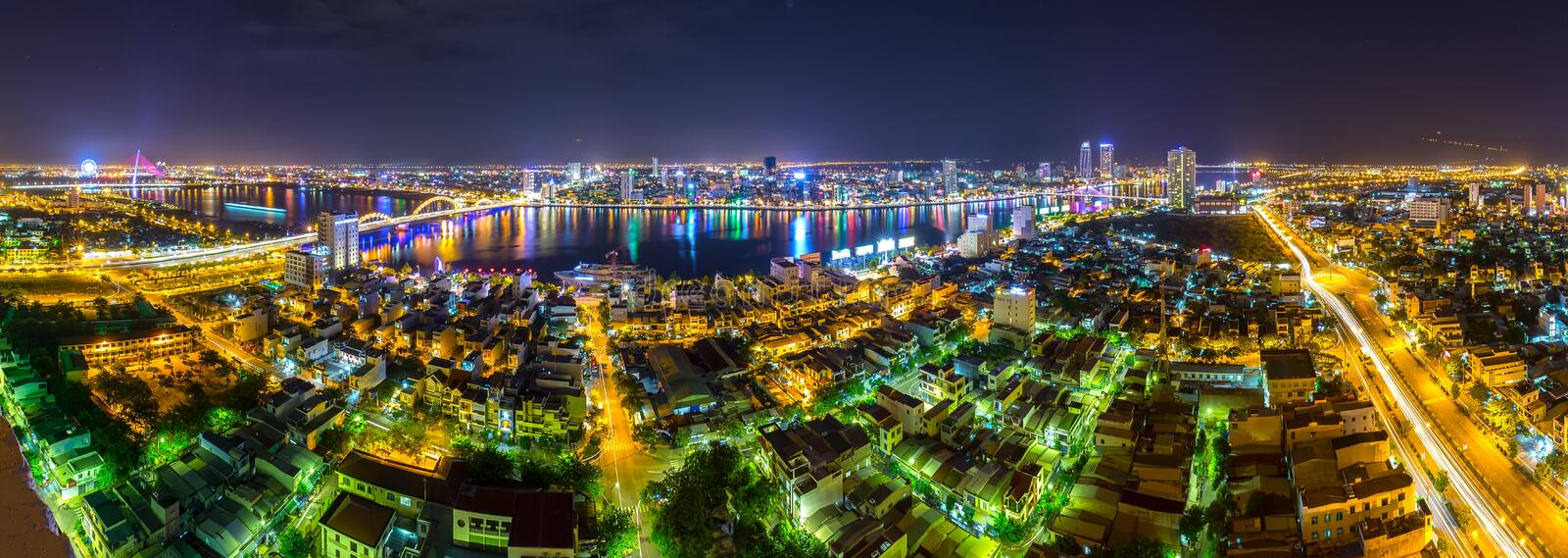 Danang panoramic city nightlife royalty free stock images