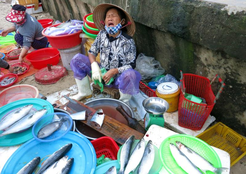 A vendor selling fish at the market on the seashore. royalty free stock image