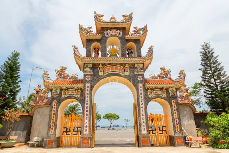 Chua Buu Dai Son Temple at Danang, cool pagoda with a nice gate stock photo