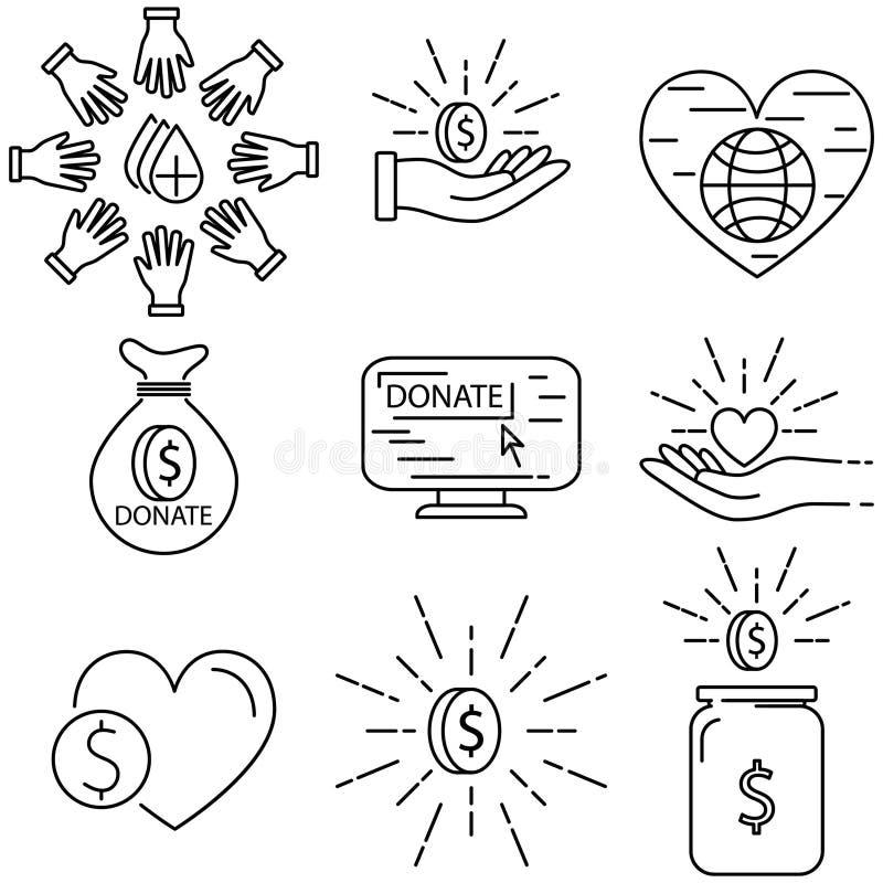 Danation linje symbolsuppsättning stock illustrationer