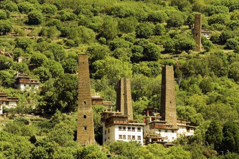 Danba, sichuan, china, towers and villages stock photos