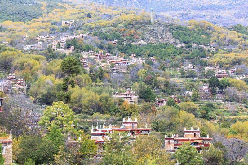 Danba Tibetaanse Dorpen in de herfst, Sichuan royalty-vrije stock foto