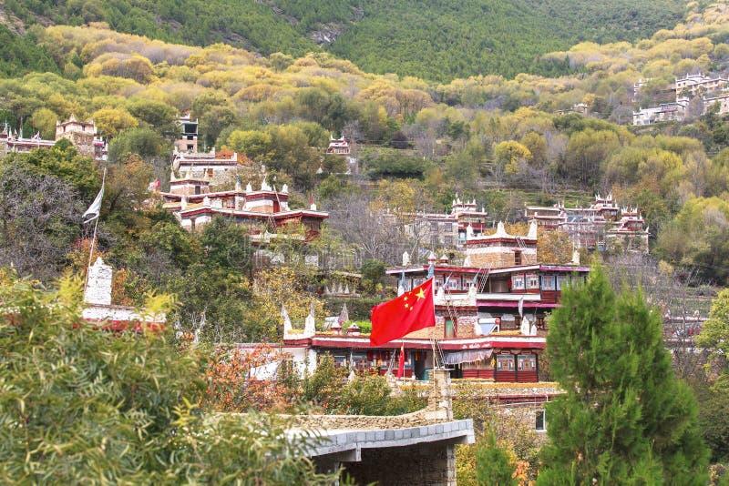 Danba Tibetaanse Dorpen in de herfst, Sichuan stock foto
