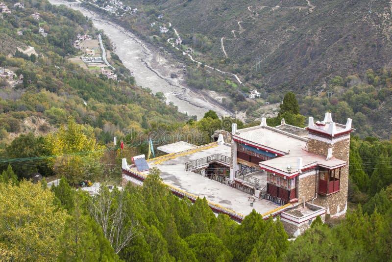 Danba Tibetaanse Dorpen in de herfst, Sichuan stock foto's