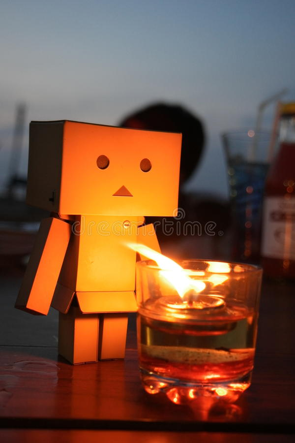 Danbo and Candle royalty free stock image