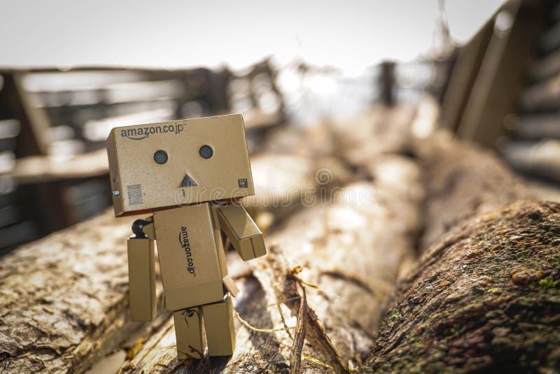 Danbo que está na madeira que espera um amante foto de stock