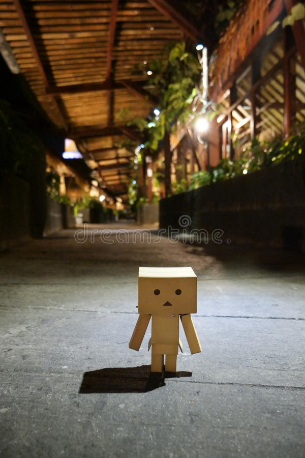 Danbo is walking alone in the night royalty free stock photos