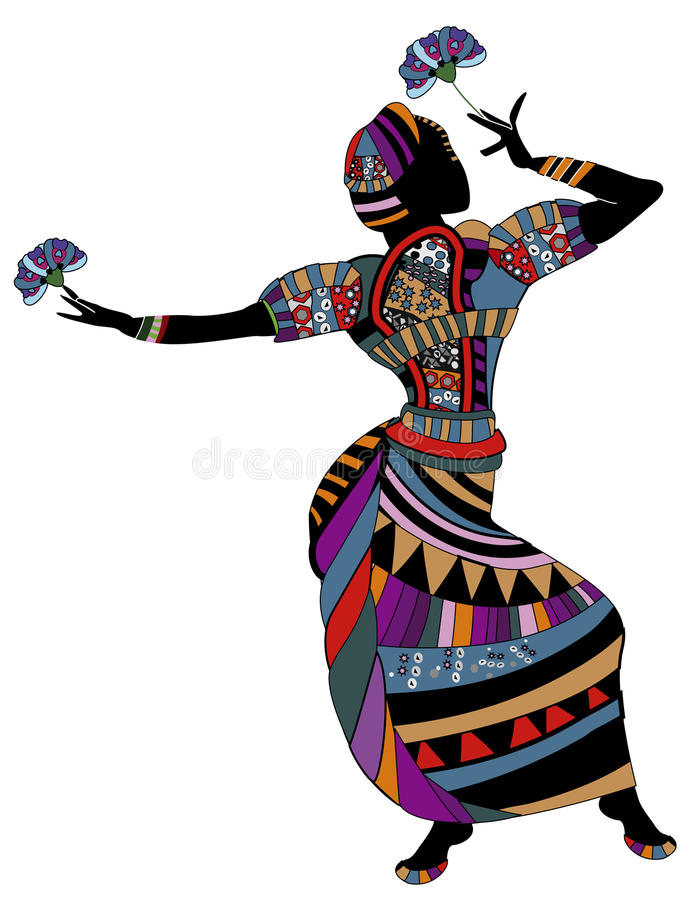 Dance. Woman in ethnic clothes dancing dancing with flowers vector illustration