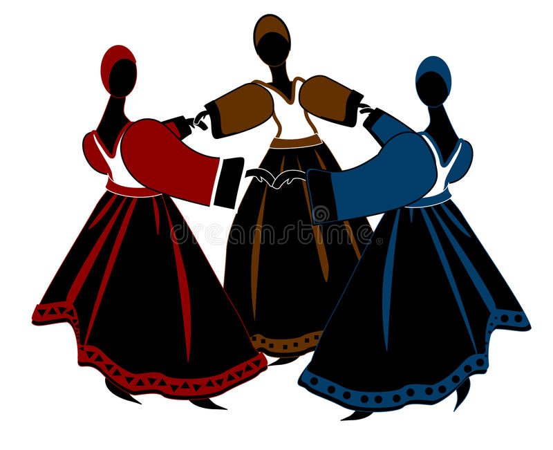 Dance. Abstract women dance their ancient dance on a white background stock illustration