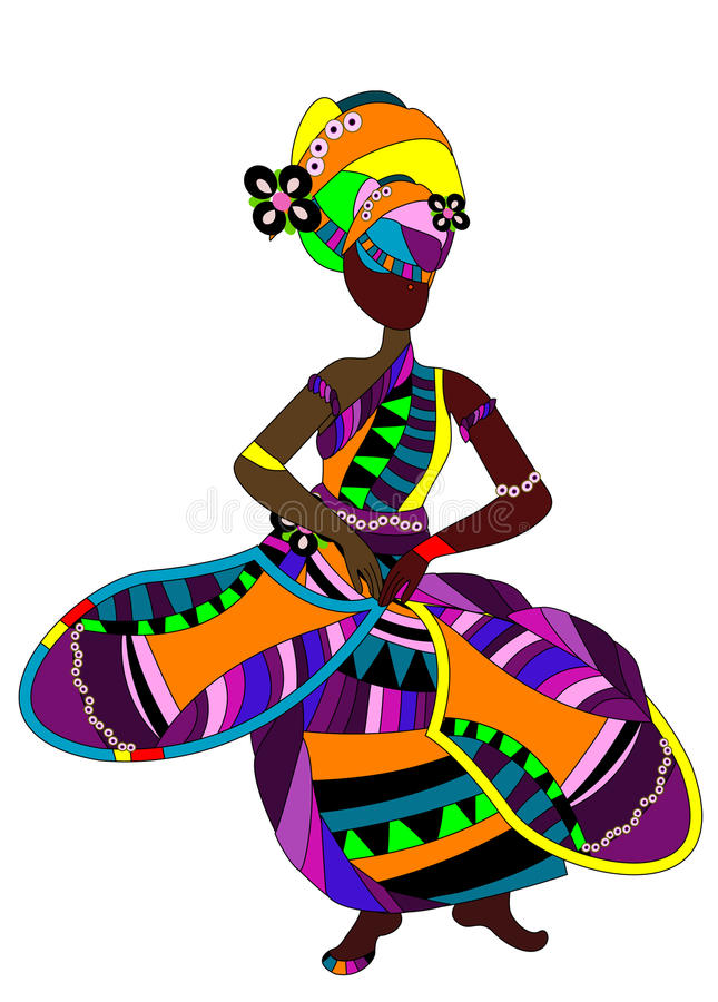 Dance. Ethnic woman in a bright dress dancing a celebratory dance vector illustration